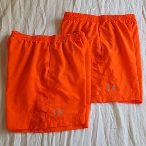 Lot of 2 Under Armour Bright Orange Lined Shorts L